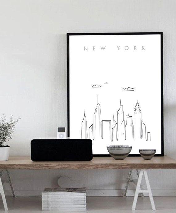 New York City Printable Wall Art Illustration Graphic Design, Poster ...