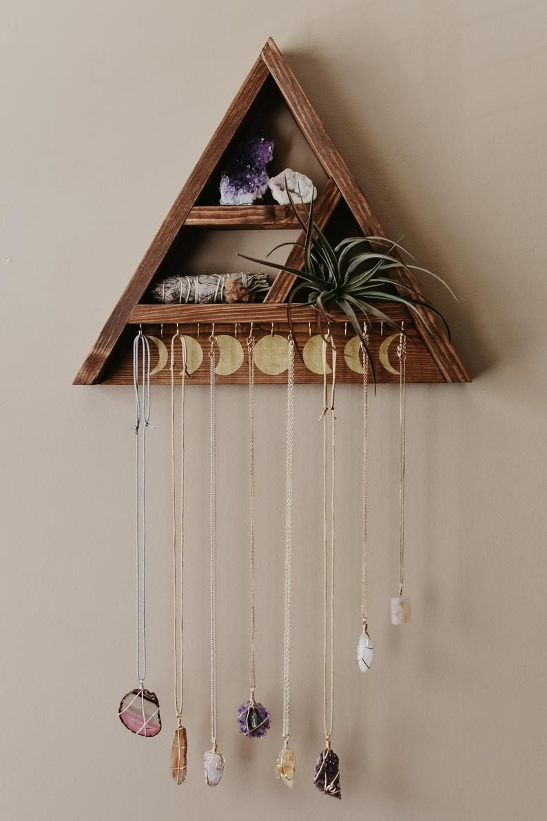 Photo of Triangle Shelf Jewelry Hanger – 15 Hooks