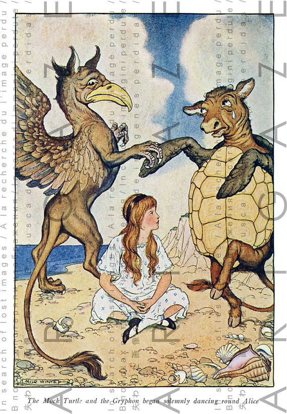 Mock Turtle and Gryphon Dance Around Alice Fab Rare by Artgaze