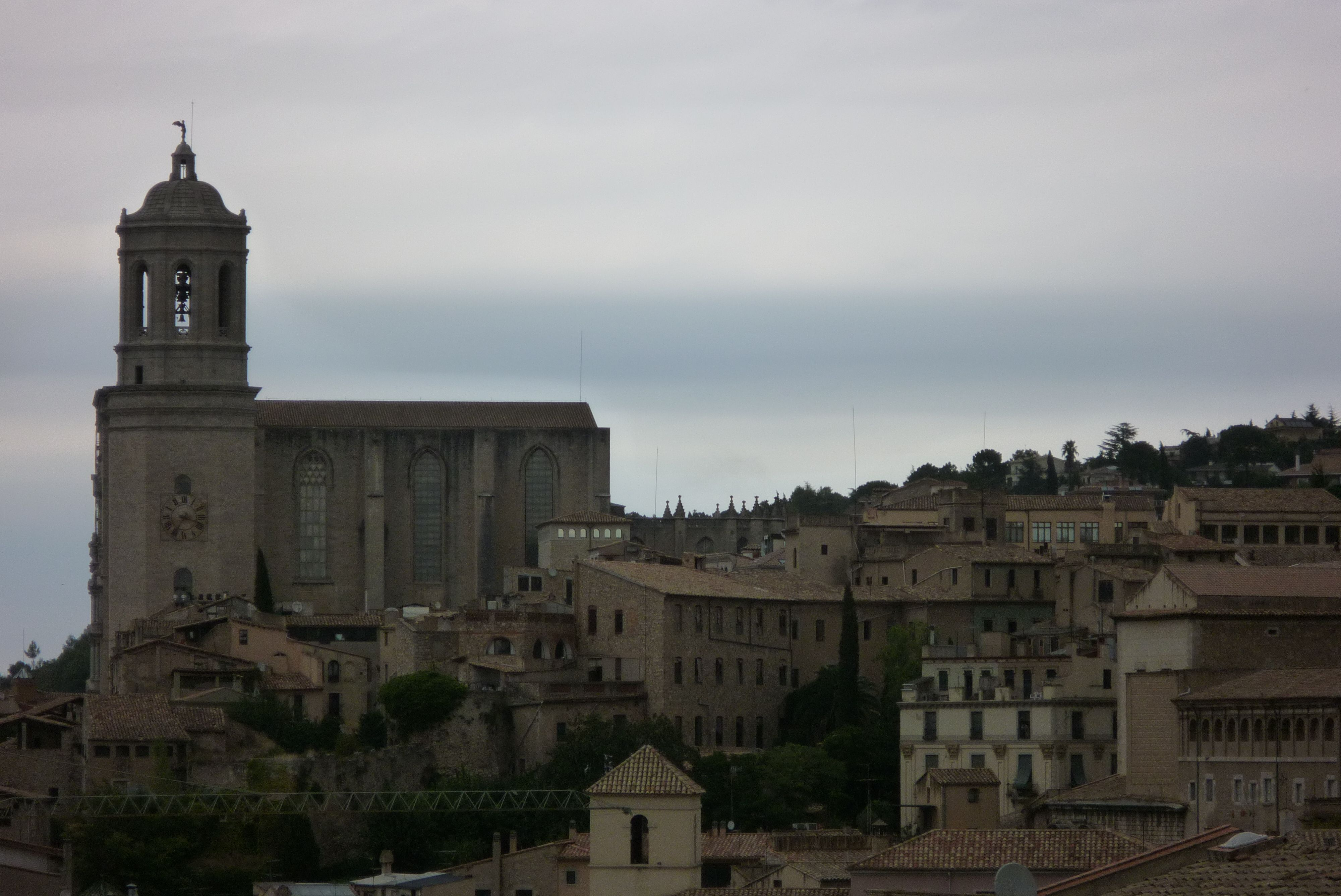 Girona: cathedral photographed from the great medieval wall around the city