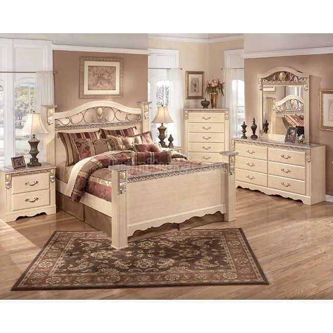 Sanibel Poster Bedroom Set Full Set - Bed, Dresser, Mirror, 2 Night