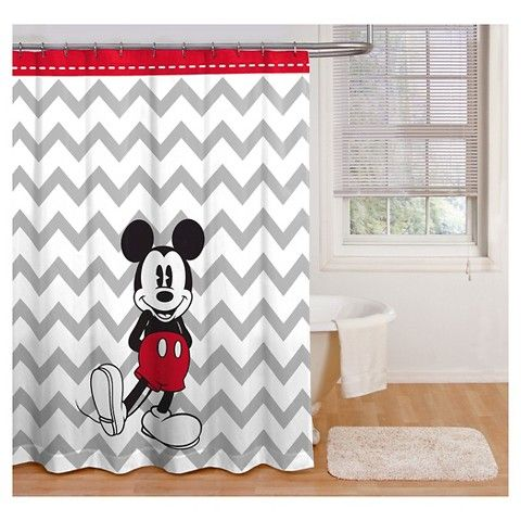 Disney® Mickey Mouse Chevron Shower Curtain - Gray/White - Disney® Mickey & Minnie Shower Curtain Starting Downstairs