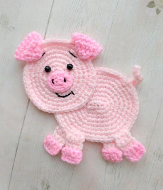 PATTERN Pig Applique Crochet Pattern PDF Farm Animal Pattern ...