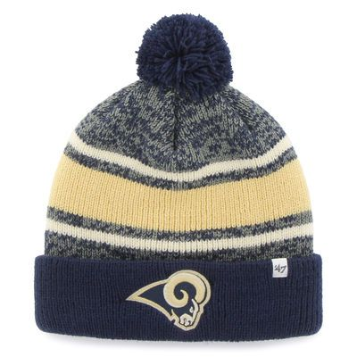 Men's Los Angeles Rams '47 Brand Navy Fairfax Cuffed Knit Hat with Pom