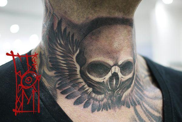 My saves riski pinterest tattoo for Skull neck tattoos
