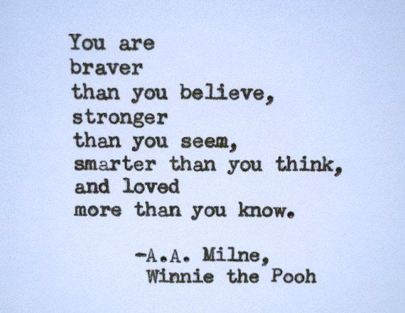 Quote card WINNIE THE POOH quote, encouragment card hand printed bravery love strength strong