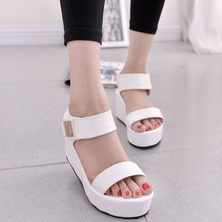 161342652bd Magic Tape Platform Shoes Women Slip-on Sandals in 2019