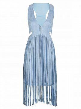 Shop Light Sky Blue V-neck Cross Back Cut Out Tassel Detail Dress from choies.com .Free shipping Worldwide.$34.9