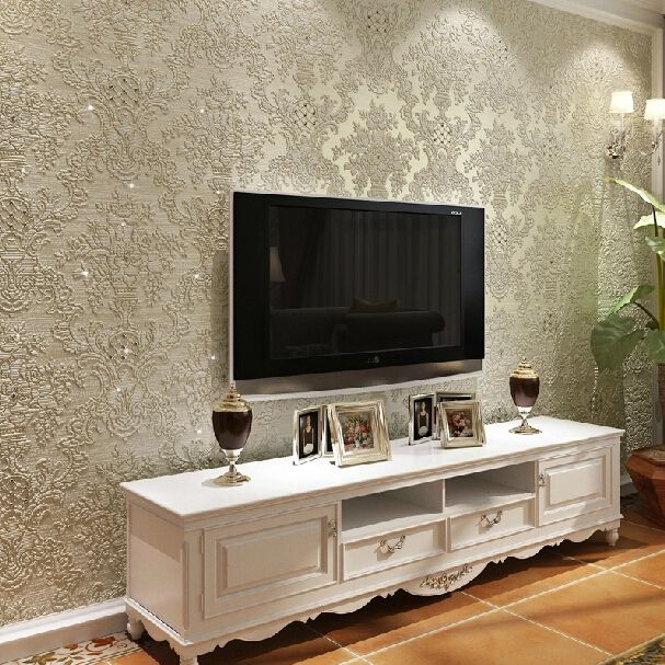 Wall Papers Papel De Parede European Luxury Diamond Crystal 3d Wallpaper 3d Flocking Nonwovens Living Living Room Tv Wall Wallpaper Living Room Living Room Tv