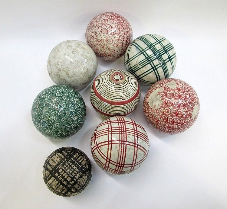 Eight Scottish Pottery Carpet Bowls With Various Carpet Bowls Victorian Games Pottery
