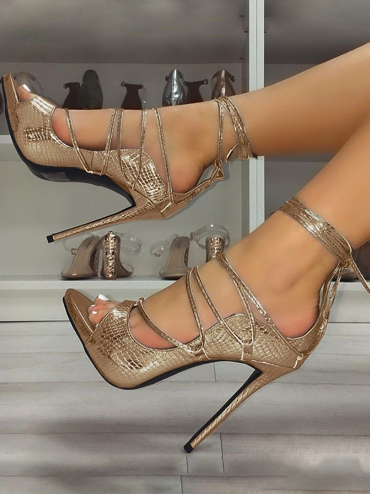 6b7064c1c Snakeskin Lace-Up Thin Heeled Sandals