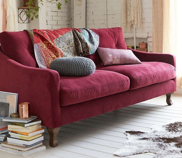 Burgundy transitional sofa contemporary couch modern red living room furniture transitional for Modern red living room furniture