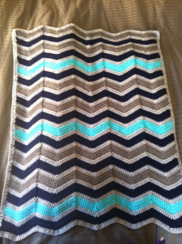 Chevron Crochet Baby Boy Blanket- \
