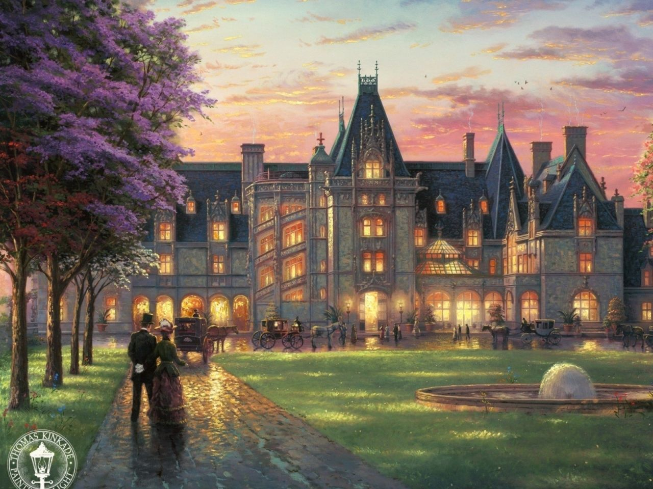 thomas kinkade mansion in heaven paintings castles garden people