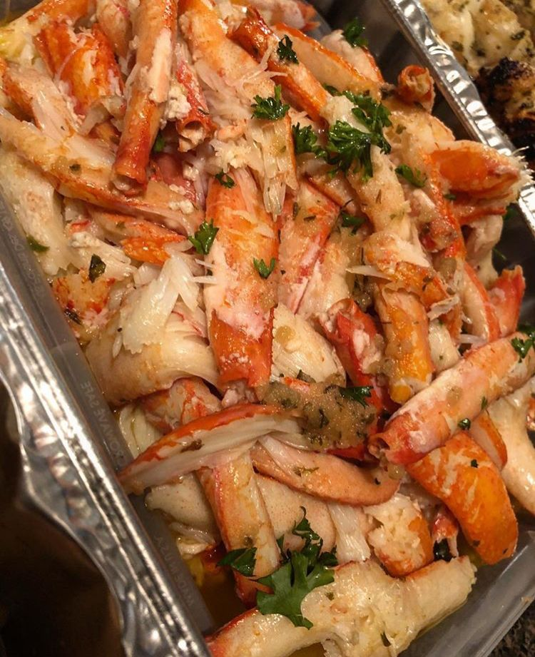 A heaping pan of deshelled snow crab legs  Drool!!! | Holy yummy