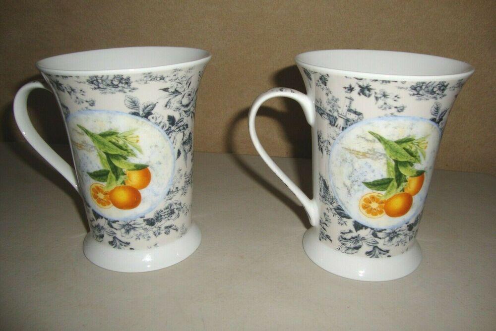 2pimpernel fruit themed coffee mugs lemon orange