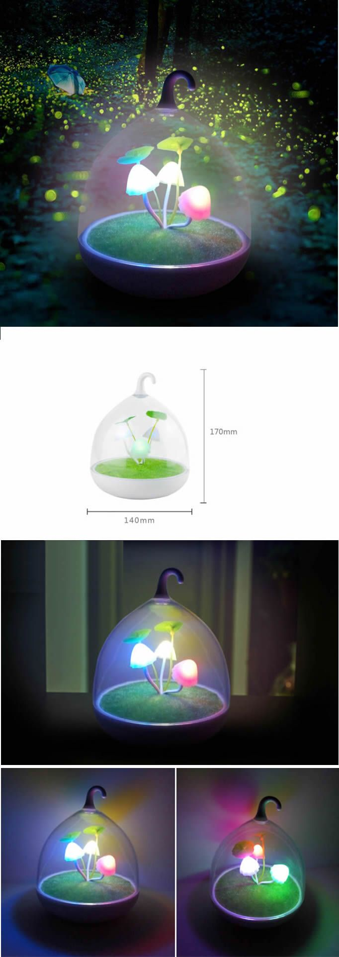 Creative Rechargeable Mushroom LED Night Light