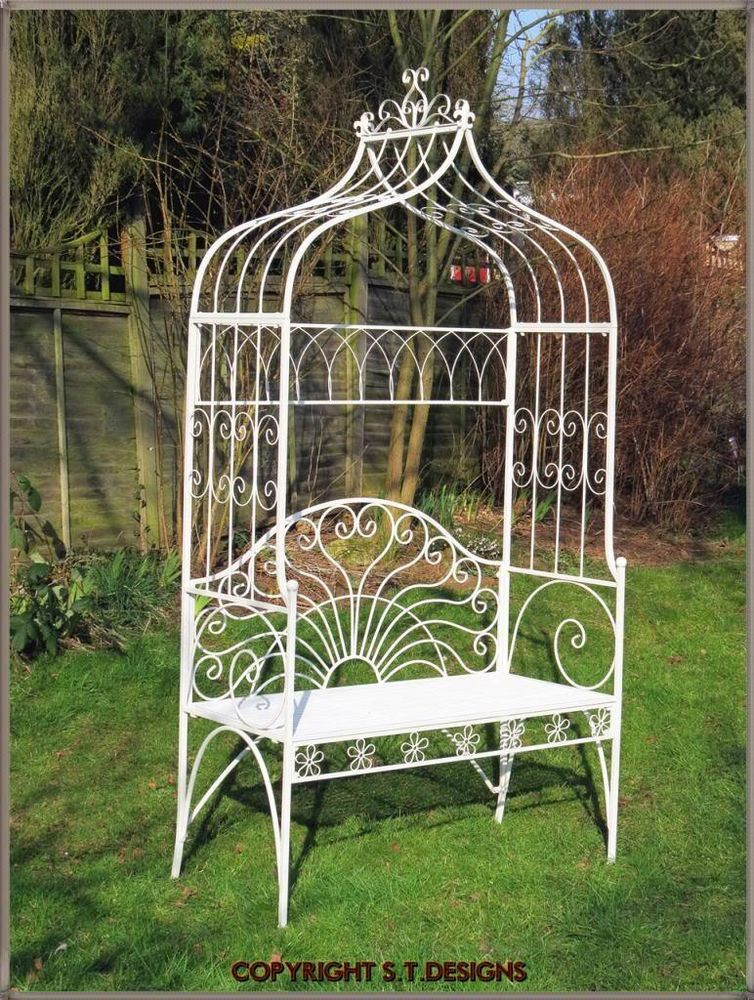 Beautiful Garden Bench Seat With Lovers Arch Antique White Arbour Patio Etc