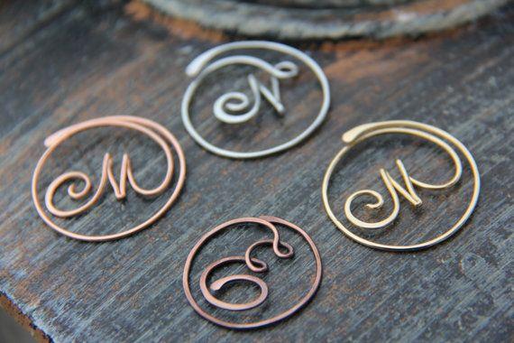 Personalized cursive letter copper, brass or German silver bookmark ...
