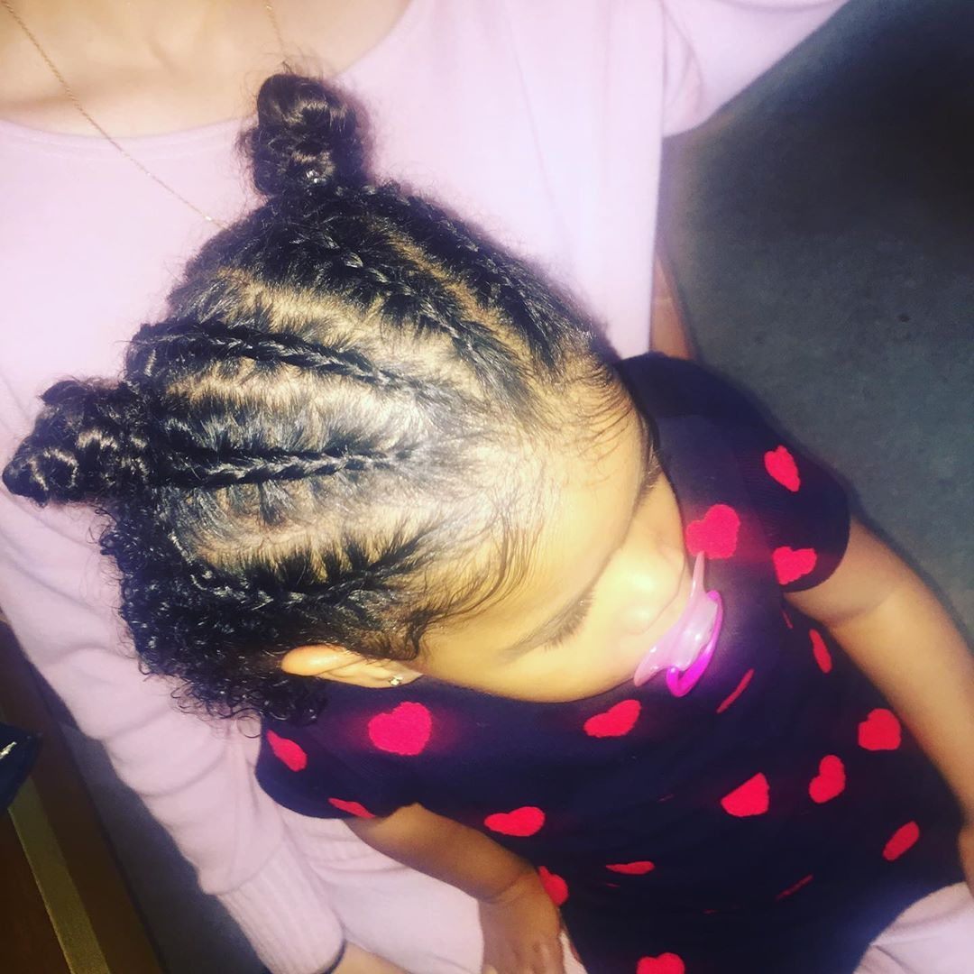 6 Braids Into 2 Buns With Hair Down At The Back Done On The Little Princess Mimis Zyezyemimimam Braid Styles For Girls Braids With Extensions Beautiful Braids