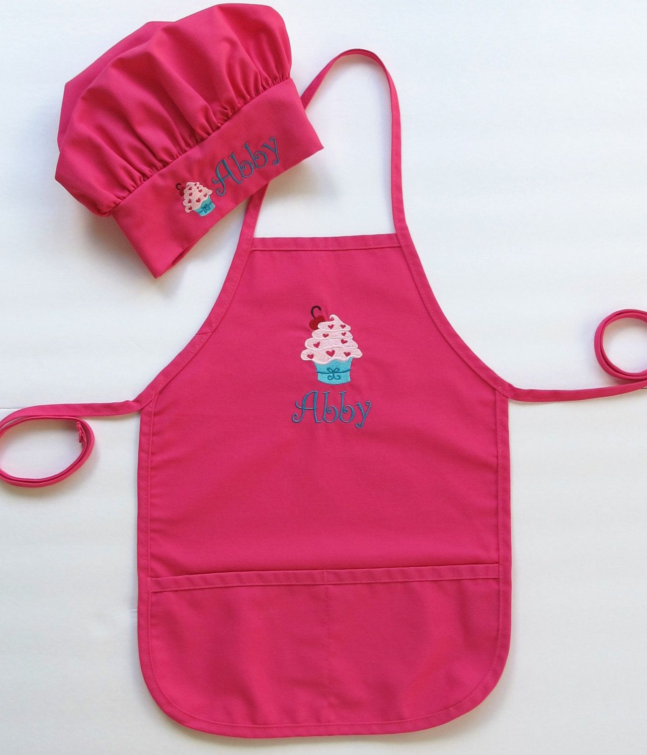 75207211 Personalized Apron AND Chef Hat for Kids - Childrens Personalized Apron and Chef  Hat - Cupcake. $38.00, via Etsy.