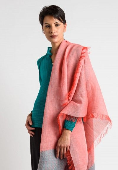 Issey Miyake Ramie/Paper Fringe Shawl in Coral
