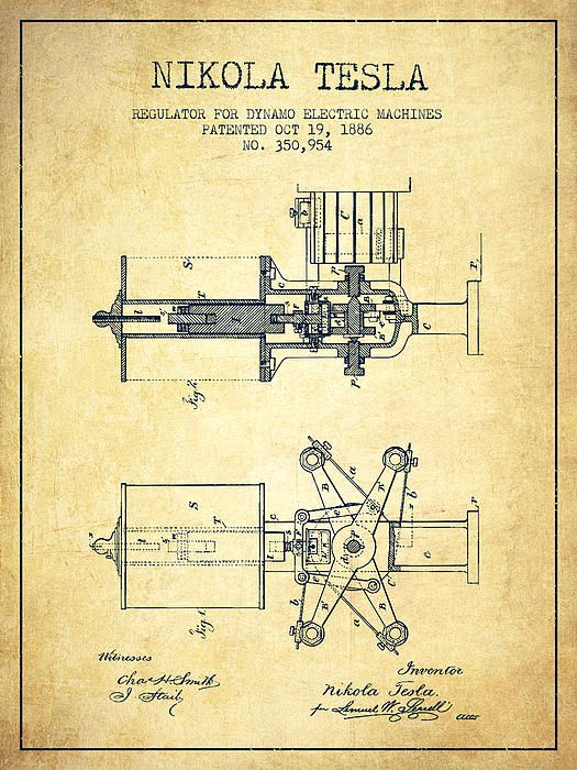 2f28d2ae A vintage Nikola Tesla Regulator for dynamo Electric Machines Patent Drawing  From 1886 on Vintage grunge background.