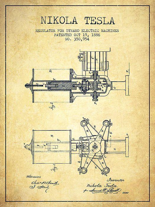 Nikola Tesla Patent Drawing From 1886 - Vintage by Aged Pixel