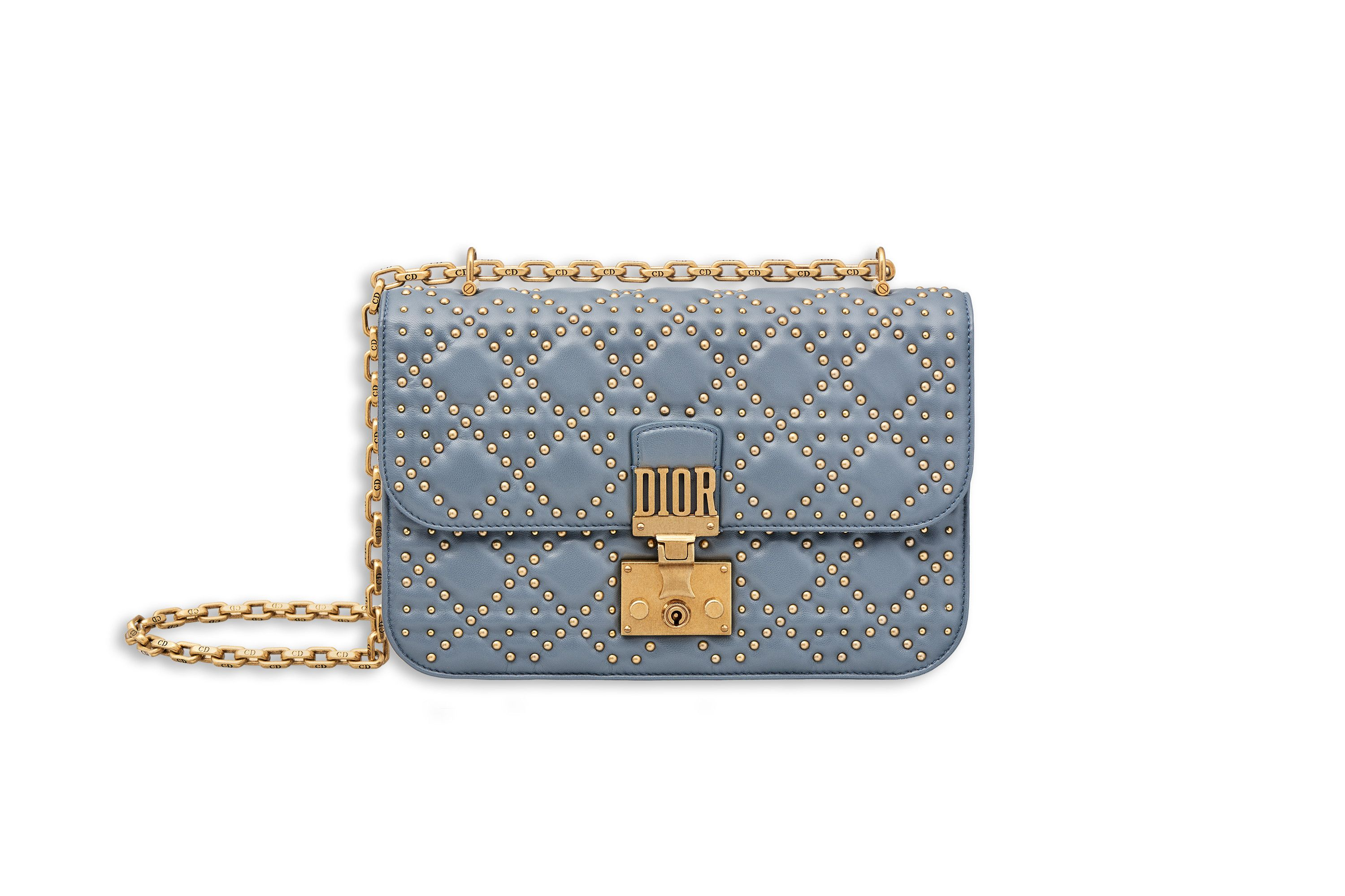 dd4d8afbe371 Dioraddict flap bag in blue studded lambskin - Dior