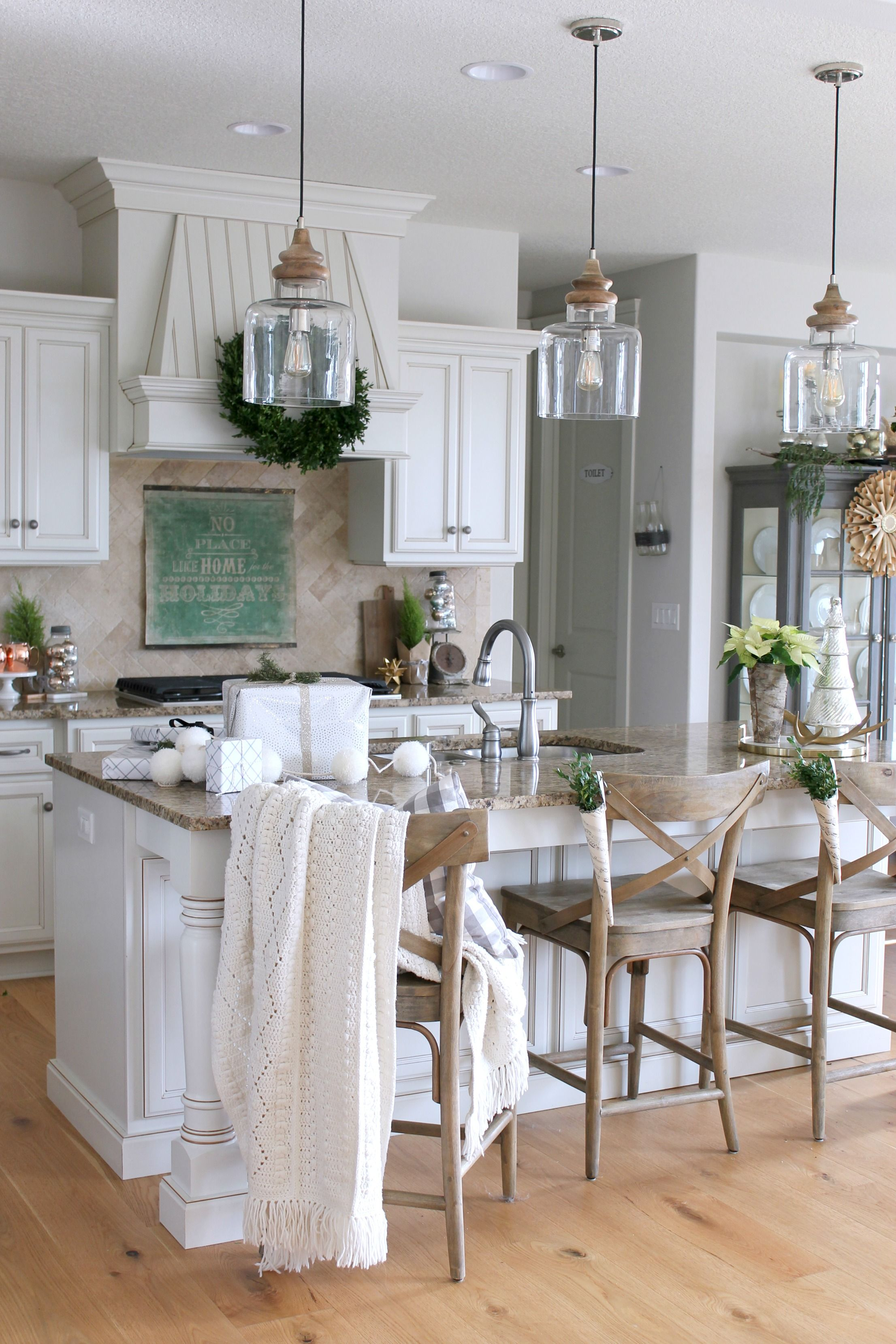 Farmhouse Pendant Light Over Island
