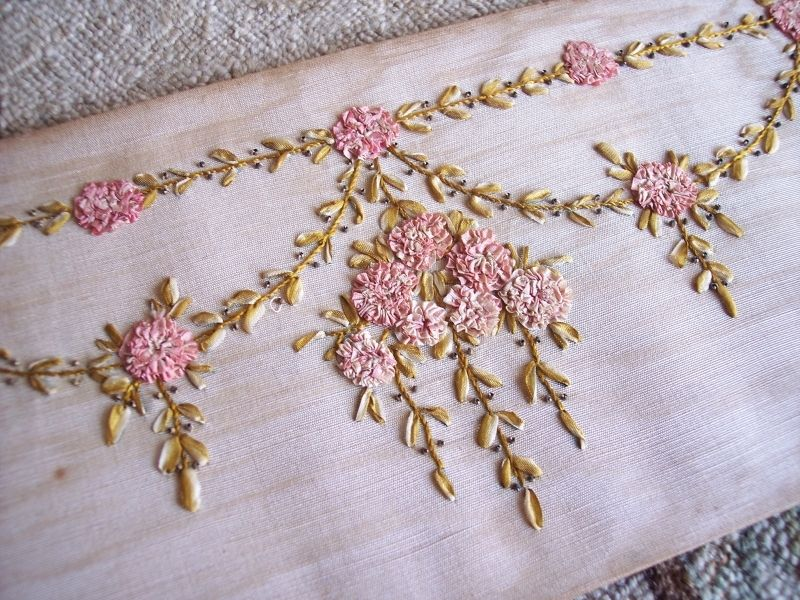 1890s Victorian Silk Ribbon Embroidery Panel Pink Roses From