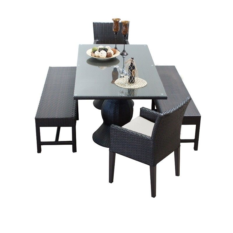 Napa Rectangular Outdoor Patio Dining Table W 2 Chairs W Arms