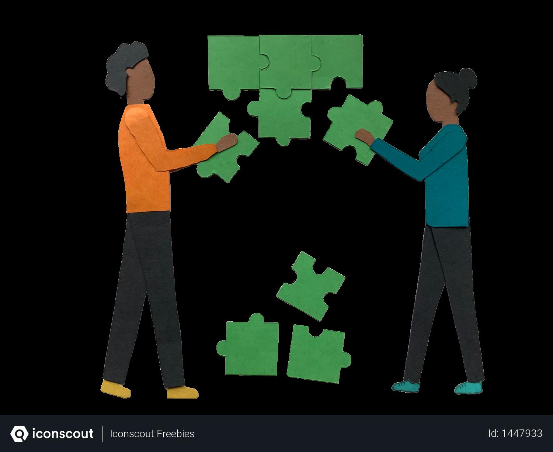 Free Team solving problems Illustration download in PNG