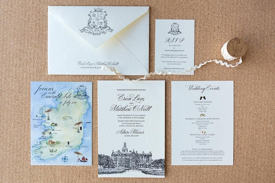 Erica Matthews Bespoke Wedding Invitation Featuring A Black Letterpress Venue Illustration Scripted Black Font Watercolour Map And A Monogram On The