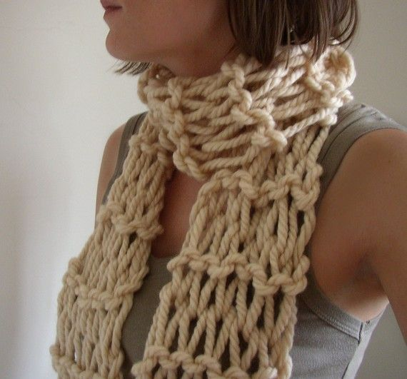Photo of Chunky Hand Knit Womens Scarf