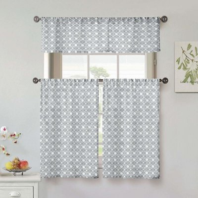 Wrought Studio Groner 3 Piece Kitchen Curtain Set Color Gray