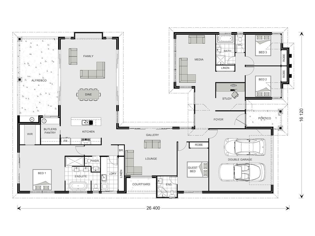 Mandalay 338 Our Designs Gladstone Builder Gj Gardner Homes Gladstone New House Plans U Shaped House Plans House Design