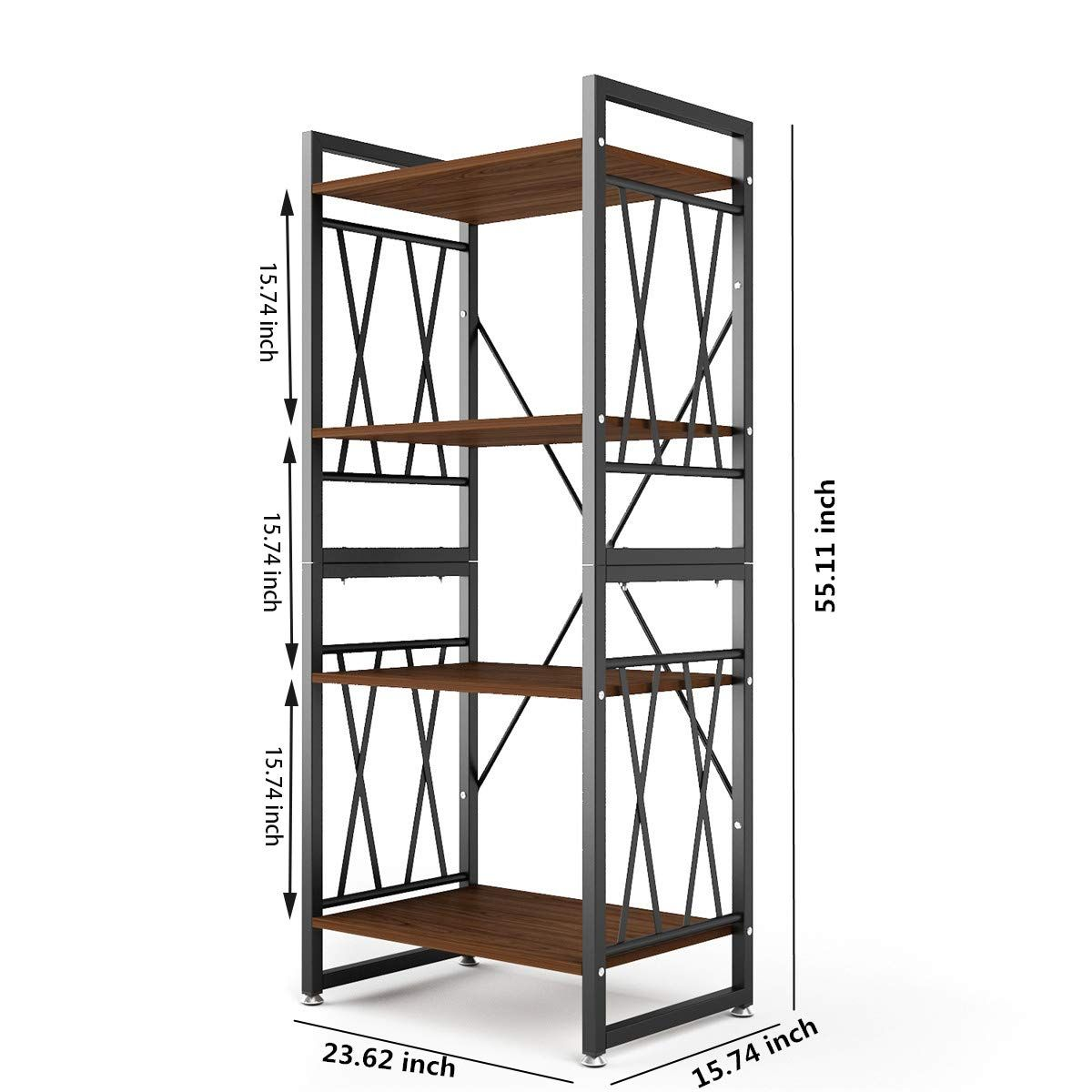 4 Shelf Bookshelf Industrial Bookshelf Ladder Bookshelf Storage Rack Shelves Metal And Wood Bookcase 55 Ta In 2020 Wood Bookcase Living Room Furniture Styles Shelves