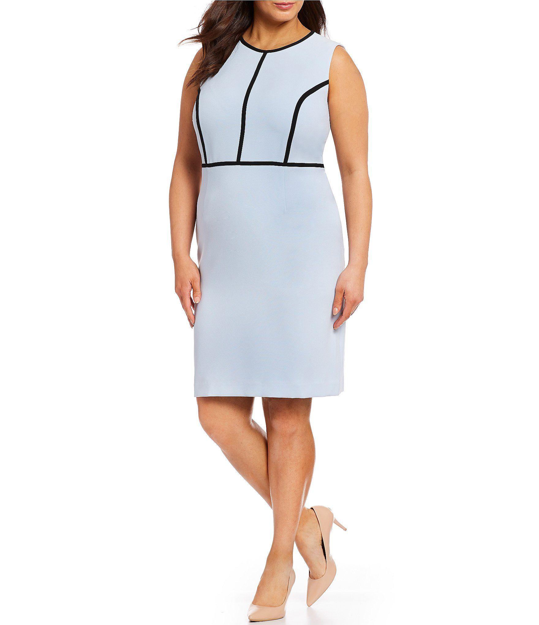 95ed94e975 Shop for Kasper Plus Size Crepe Contrast Pipping Sheath Dress at  Dillards.com. Visit