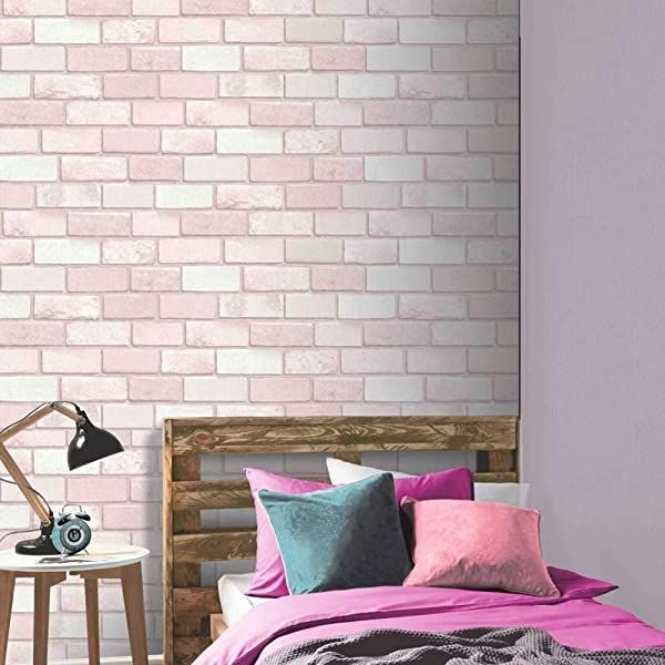 3D Brick Effect Wallpaper Lilac Pink Blue Paint Splash