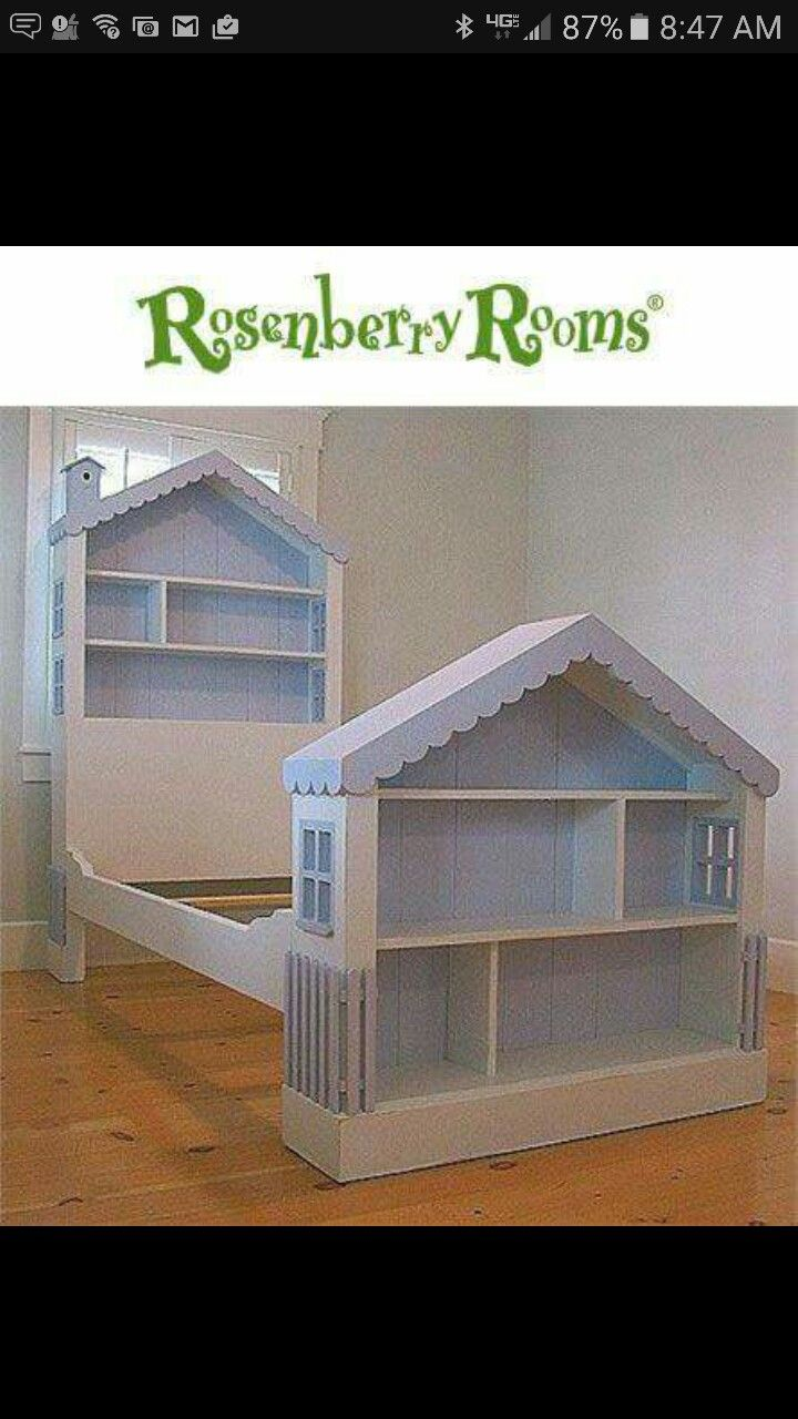 Bookcases turned dollhouses and transformed to head and footboard ...