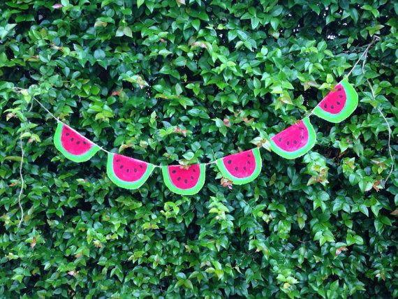 Red Watermelon Burlap Banner by GiftsbyGaby on Etsy