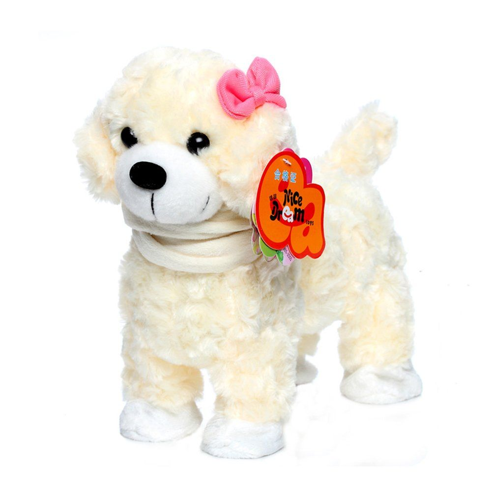 Smalody Electronic Dog Pet Singing Walking Musical White Pink