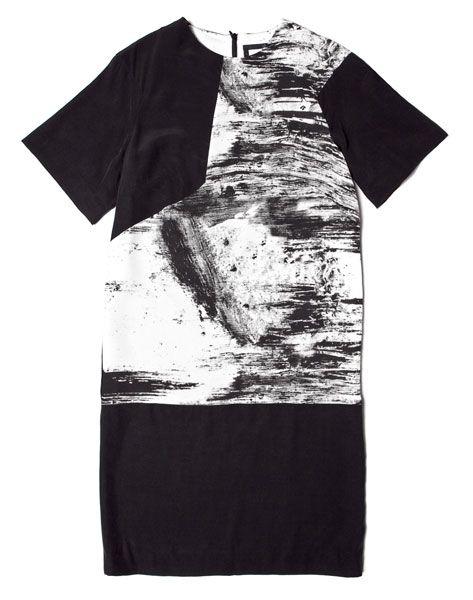 Obakki black short sleeved shift dress with paint print panel, $420, obakki.com (100% of net profits go directly to Obakki humanitarian projects in Africa).