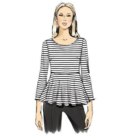 Misses\' Peplum Knit Top, V9056 http://voguepatterns.mccall.com/v9056 ...