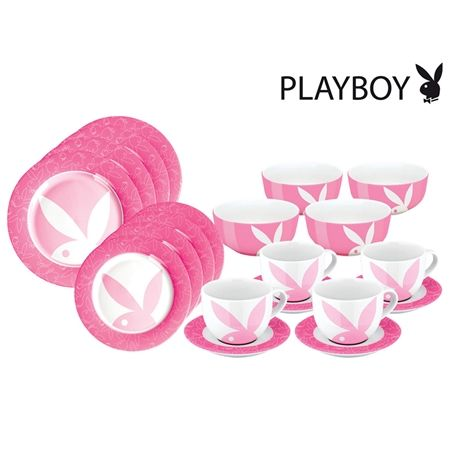20pc Playboy Pink Dining Set. Playboy bathroom accessories set soap dish tumbler liquid soap