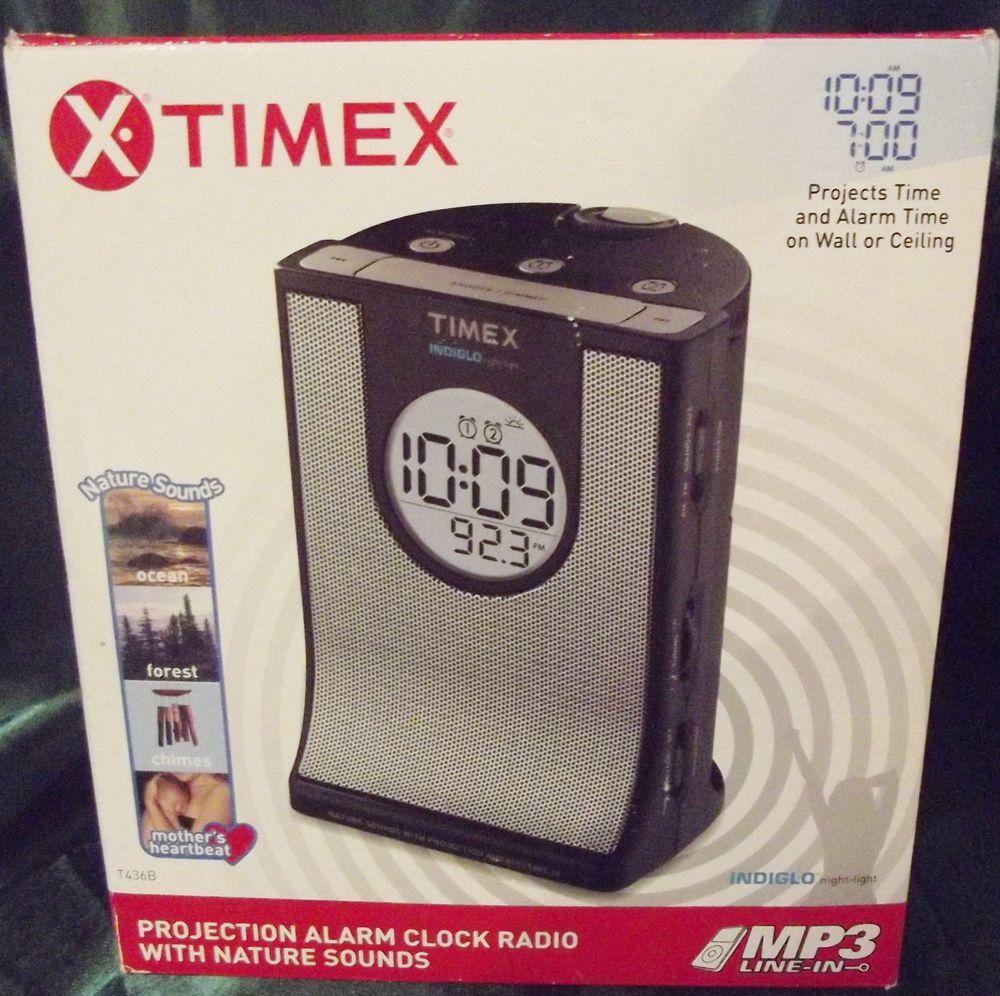 Timex Projection Alarm Clock Radio With Nature Sounds Nwot Original Box Manuals Radio Alarm Clock Clock Projection Alarm Clock