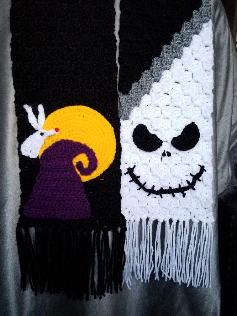 Nightmare Before Christmas Inspired Crochet Scarf #grinchscarfcrochetpatternfree