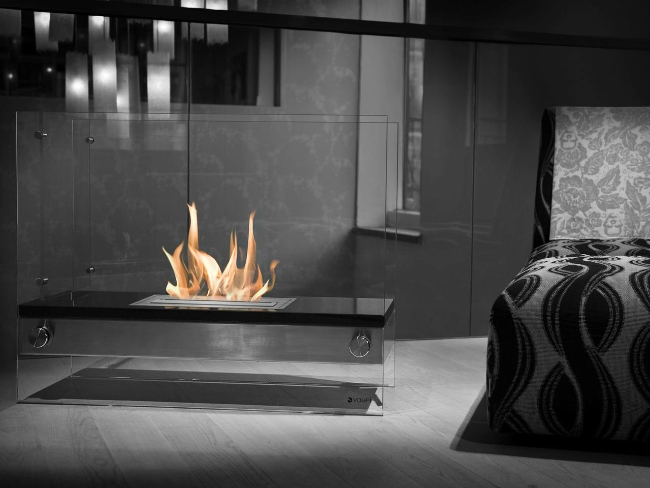Free Standing Bioethanol Fireplace Divider Vauni Custom