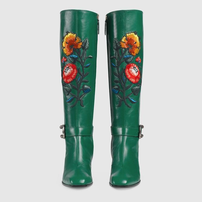 04521edd2 Dionysus embroidered knee boot. Dionysus embroidered knee boot Side Zip  Boots, Gucci Shoes ...